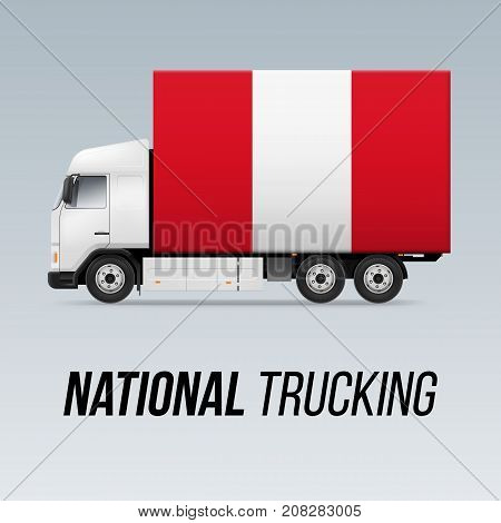Symbol of National Delivery Truck with Flag of Peru. National Trucking Icon and Peruvian flag