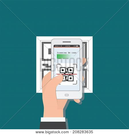 Hand holding mobile phone scanning QR code from document Electronic scan digital technology flat design Vector illustration