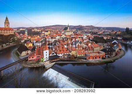 Historic old town in Cesky Krumlov, Czech republic, travel destination, winter