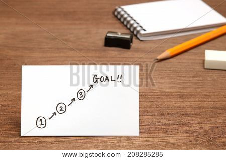 Start and Goal written on paper, and  stationery as the background. Concept of step up of learning.