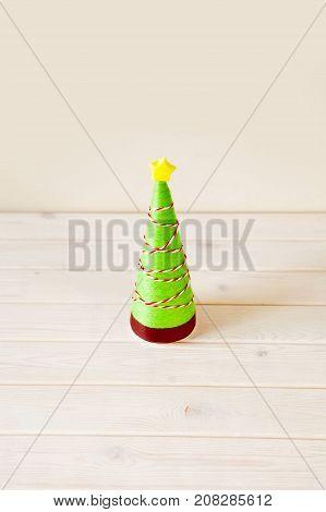 Alternative Christmas Tree Cones. Christmas Tree Made Of Thread And Yarn. Christmas Tree Decorated W