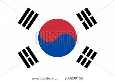 Flag of South Korea in national official colors and proportions vector