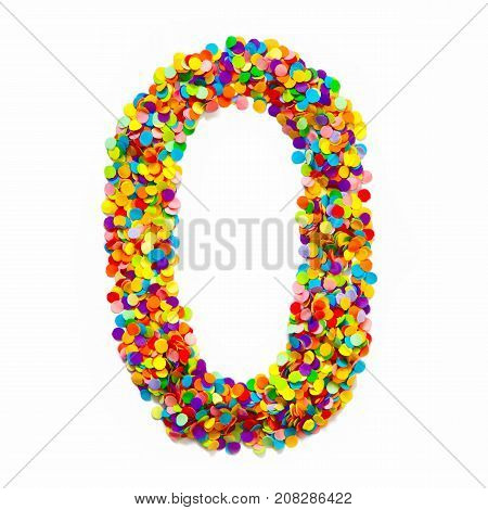 The Number Zero Is Lined With Colored Confetti. White Background