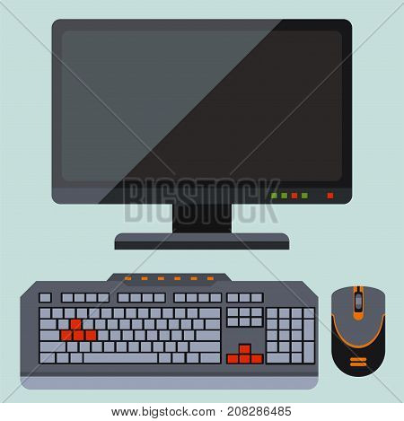 Desktop computer technology vector isolated icon. Telecommunication equipment metal pc monitor frame modern office network. Electronic device space.