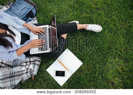 Cropped photo of student girl, using laptop, sitting on grass, outdoor