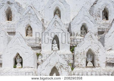 The white pagoda of Hsinbyume (Mya Thein Dan pagoda ) Paya temple in Mingun near Mandalay, Myanmar