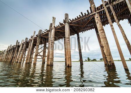 Famous U-Bein bridge in Amarapura near Mandalay, Myanmar