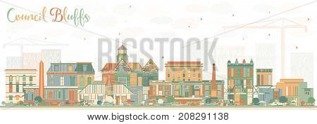 Council Bluffs Iowa Skyline with Color Buildings. Business Travel and Tourism Illustration with Historic Architecture.