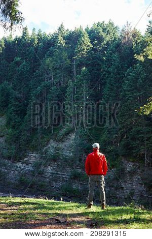 Rear view man hiker in waterproof jacket admiring the cliff and forest