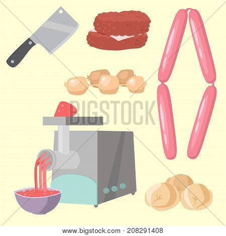 Meat products set of cartoon delicious barbecue kebab variety delicious gourmet meal and animal assortment slice lamb cooked vector illustration. Smoked grocery ham salami food.