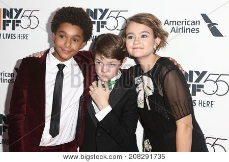 NEW YORK-OCT 07: (L-R) Actors Jaden Michael, Oakes Fegley and Millicent Simmonds attend