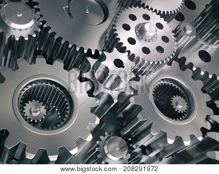 Engine gears wheels and cogwheels. Industrial background. 3d illustration
