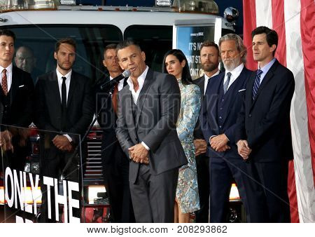 Miles Teller, Taylor Kitsch, Josh Brolin, Jeff Bridges, Jennifer Connelly, Dierks Bentley, Joseph Kosinski and James Badge Dale at the LA premiere of 'Only The Brave' held in USA on October 8, 2017.
