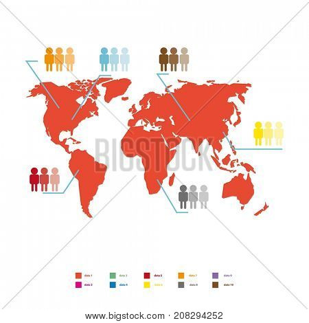 World population statistic  illustration. Red global map
