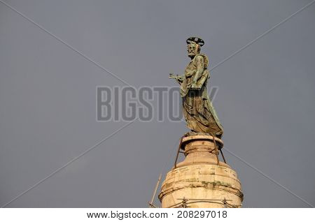 ROME - SEPTEMBER 01: Bronze statue of St Peter, Church of the Most Holy Name of Mary (Chiesa del Santissimo Nome di Maria al Foro Traiano) at the Trajan Forum in Rome, Italy on September 01, 2016.