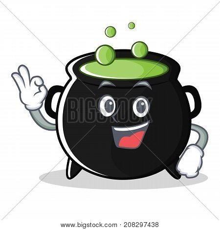 Okay magic cauldron character cartoon vector illustration
