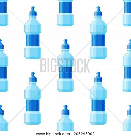 Water plastic bottle seamless pattern background vector. Transparent mineral beverage blank. Refreshment nature blue clean liquid environment aqua fluid illustration.