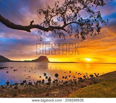 Amazing Landscape. View of Le Morne Brabant at sunset. Mauritius island.