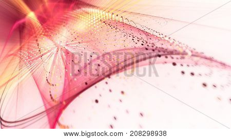 Abstract red background. Fractal graphics series. Three-dimensional composition of bokeh blurs and light beams.