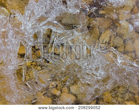 Texture of frozen sheet of ice forming on surface of flowing cold river water during winter time