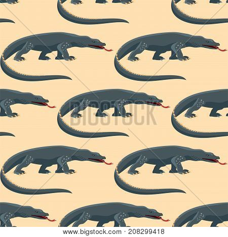 Reptile amphibian colorful varan fauna vector illustration reptiloid predator reptiles animals. Exotic cartoon vertebrate tropical iguana africa seamless pattern.