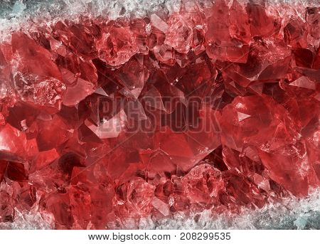 macro photo of red ruby crystals background
