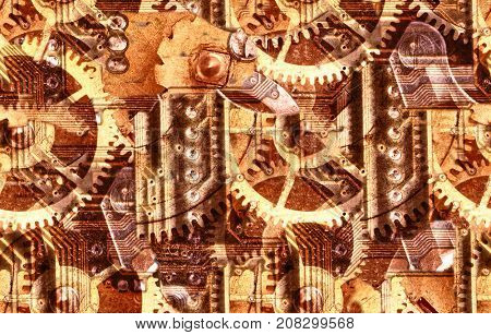 abstract industrial seamless background with gears