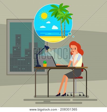 Concept of big dreams. Businessman sitting at the table in the office and dreaming. Flat design, vector illustration.