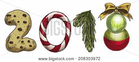 New Year 2018 . Winter card with candies spruce branch biscuits and a Christmas tree toy. Vector image for new years day christmas sweet-stuff winter holiday new years eve