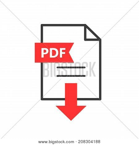 PDF vector icon. Download file. Simple sign for web or app.