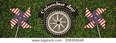 Big brown Logo for event american event colombus day  against full frame shot of grassy field