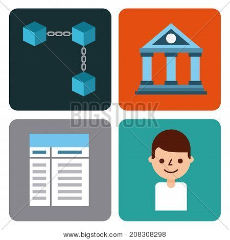 set of icons blockchain business digital access vector illustration