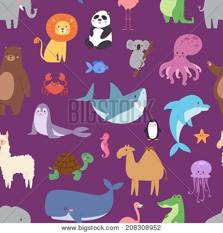 Cartoon animals wildlife wallpaper zoo wild characters background for kids illustration vector seamless pattern.