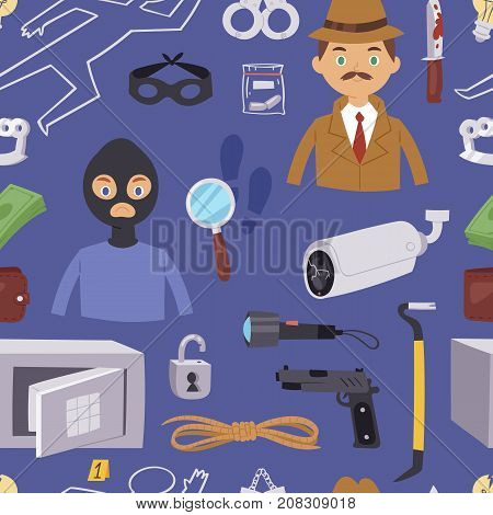 Criminal thief cartoon detective character design with equipment investigator police man design vector illustration. Private mystery inspector crime scene seamless pattern background .