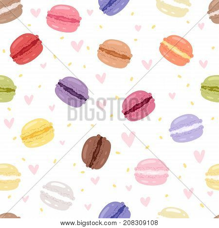 Macarons tasty cake set different colors macaroon s with fruit vector illustration. Dessert fruit macaroon and sweet cake traditional sweet macaroon biscuit seamless pattern background