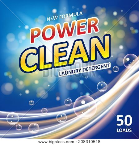 Power clean soap banner ads design. Laundry detergent colorful Template. Washing Powder or Liquid Detergents Package design. Vector illustration EPS 10 poster