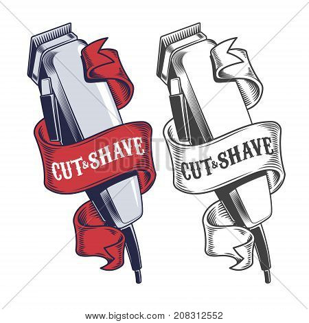 Colored and monochrome electric hair clippers turned with ribbon engraved vector isolated on white background. Hairdressing tool or equipment illustration for barber shop logo or emblem in retro style