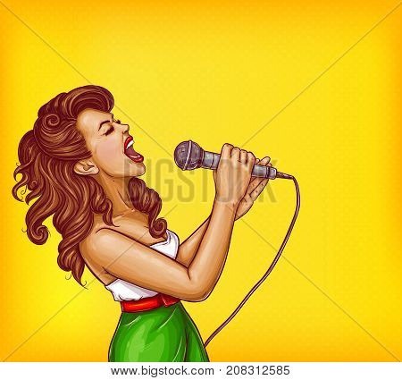 Expressive singing woman with microphone in hands pop art vector illustration with copyspace. Karaoke signer, musical band vocalist, pop star pin up portrait for party, concert or musical event ad