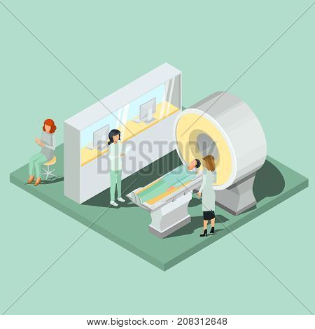 Medical cabinet with magnetic resonance imaging equipment, scanner operator workplace with seat isometric projection vector illustration. High technologies for modern medicine diseases diagnosis