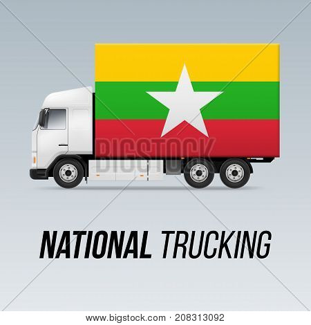 Symbol of National Delivery Truck with Flag of Myanmar. National Trucking Icon and flag design