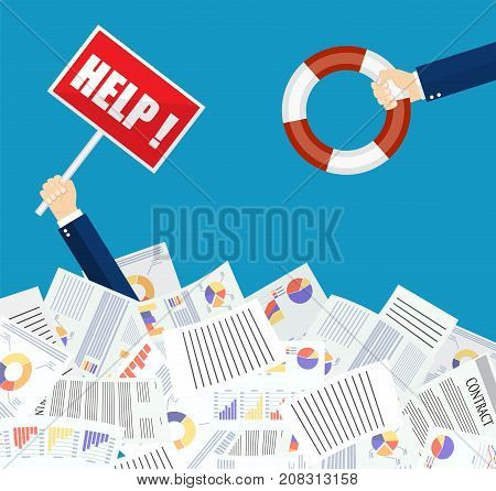 The hand of a man sticks out of a pile of papers. Another person is stretching a lifeline and wants to help. Helping Business to survive. vector illustration in flat style