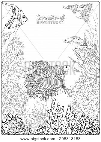 Adult coloring book. Coloring page with underwater world coral reef. Banner with space for text. Corals, fish and seaweeds.  Outline vector illustration.