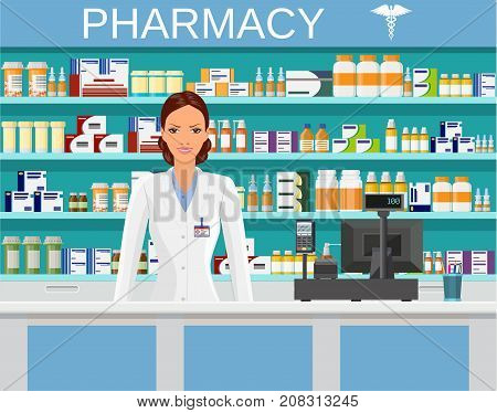 Modern interior pharmacy or drugstore with female pharmacist at the counter. Medicine pills capsules bottles vitamins and tablets. vector illustration in flat style