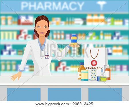 Modern interior pharmacy or drugstore. Pharmacist showing some medicine Shopping bag with different medical pills and bottles, healthcare and shopping. Vector illustration in flat style