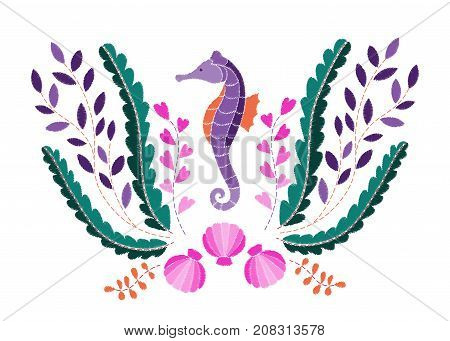 Seahorse, seaweed and shell embroidery pattern on white background. Fashion marine composition, textile print.