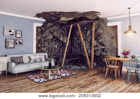 the partially destroyed interior. 3d rendering illustration concept