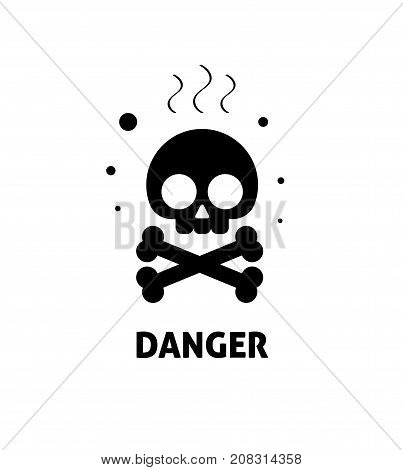 Chemical hazard sign vector illustration, flat cartoon toxic risk dangerous zone symbol, chemicals caution sticker, alert sign