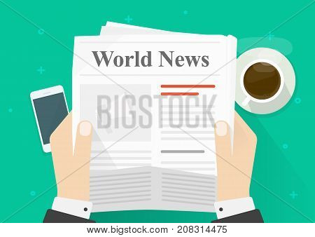 Newspaper in hands vector illustration, flat cartoon person reading news in newspaper while coffee break top view, daily press announcement