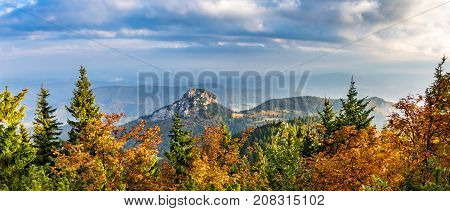 Panoramic Shot Of Stony Little Rozsutec Hill In Autumn Landscape