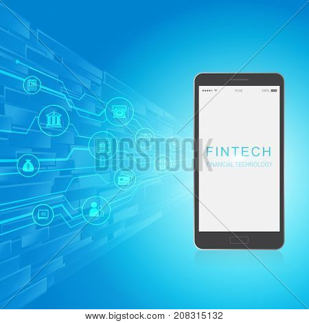 Fintech Investment Financial Internet Technology Concept. Light bulb on smart phone and business technology icon with abstract electronic circuit background